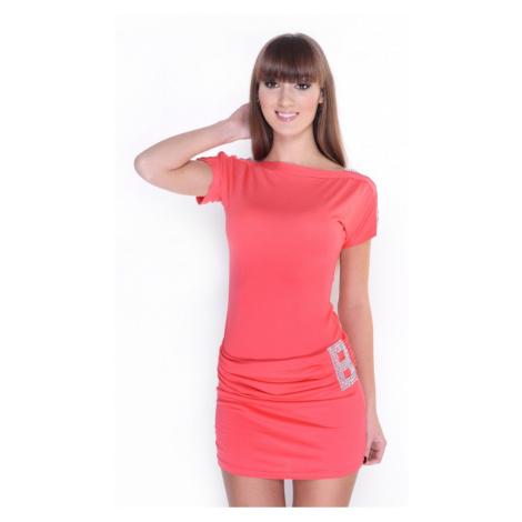 Zdobené šaty s lodičkovým výstřihem barva korálová Oxyd
