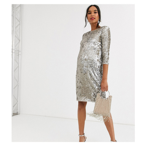 TFNC Materrnity patterned sequin bodycon mini dressin gold and silver-Multi TFNC Maternity