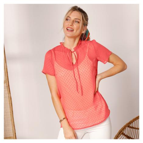 Blancheporte Jednobarevná košilová halenka korálová