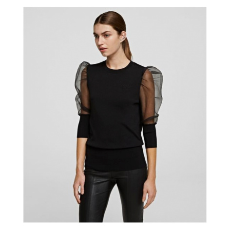 Svetr Karl Lagerfeld Organza Sleeve Sweater - Černá