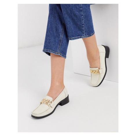 ASOS DESIGN Minimise square toe chain loafer in bone-White