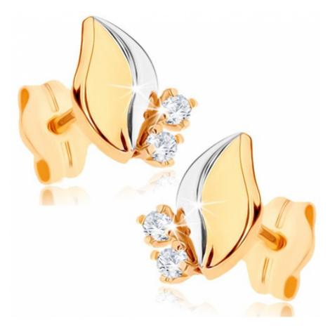 Dvoubarevné zlaté náušnice 375 - lesklý lístek, dva čiré zirkony Šperky eshop