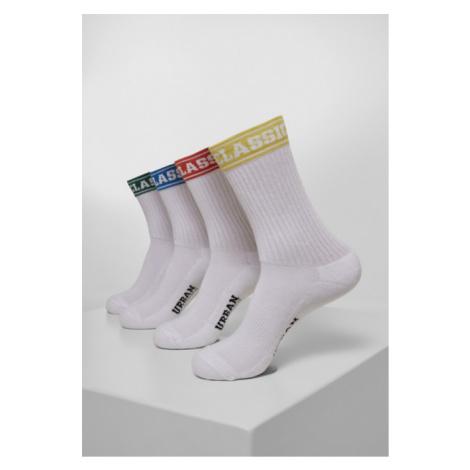 Urban Classics Short Sporty Logo Socks Coloured Cuff 4-Pack multicolor