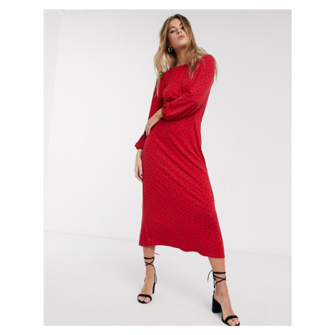 New Look polka dot detail midi dress in red