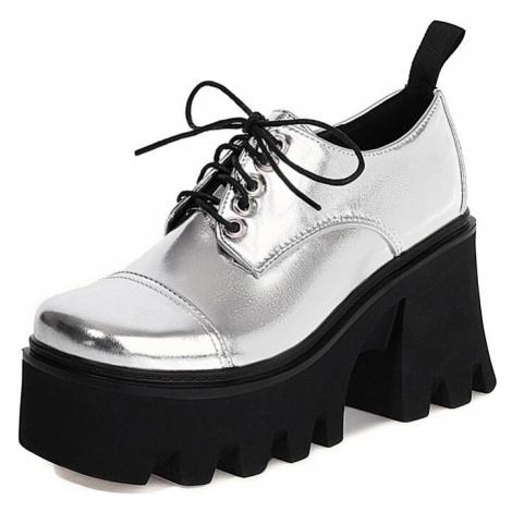 Lesklé polobotky šněrovací dámské boty na traktor platformě
