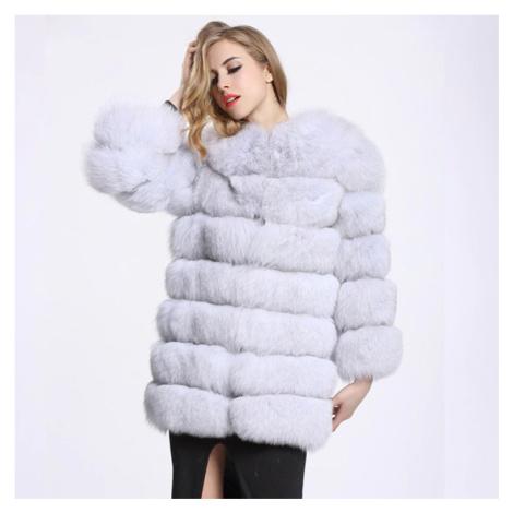 Dámský kožich kabátek bez kapuce kožešinová bunda dlouhý rukáv
