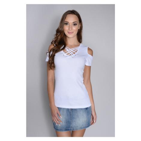 Tričko s vázaným dekoltem barva bílá