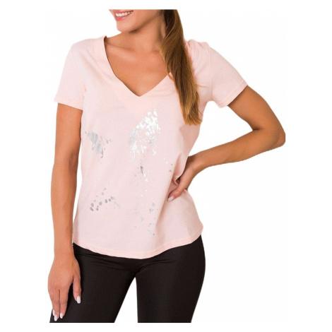 Světle růžové dámské tričko s mašlí