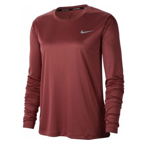 Nike MILER TOP LS W červená - Dámské běžecké triko s dlouhým rukávem