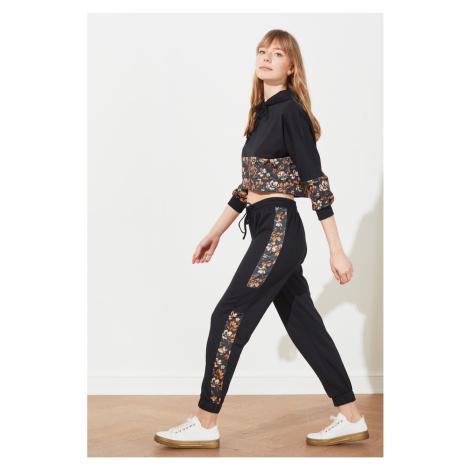 Trendyol Black Patterned Color Block Knitted Tracksuit Set