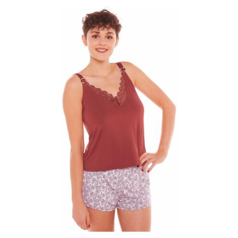 Blancheporte Pyžamo se šortkami Espérance, mikrovlákno a krajka karamelová
