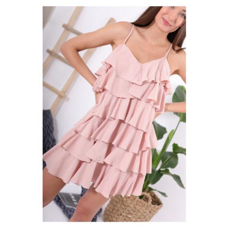 Šaty s volánky / světle růžové