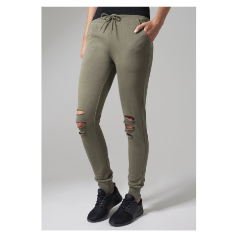 Ladies Cutted Terry Pants - olive Urban Classics