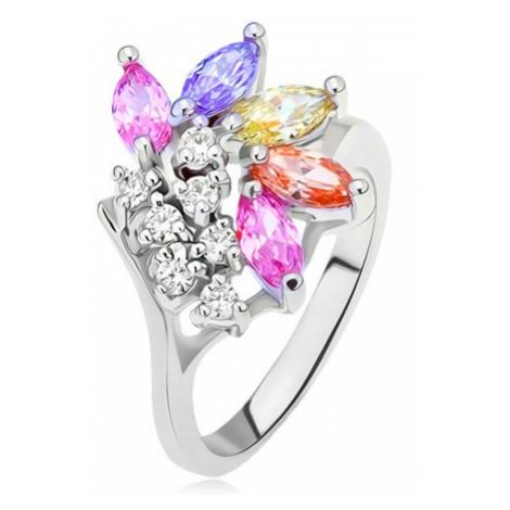 Prsten s větvičkou s čirými a barevnými zrníčkovitými kamínky Šperky eshop