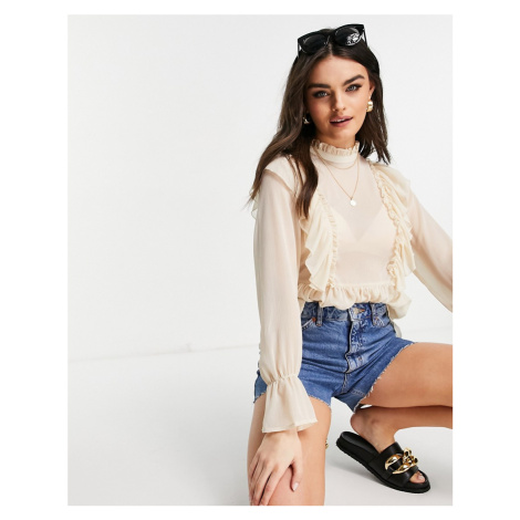 Vila high neck blouse with frill details and balloon sleeve in cream-Neutral