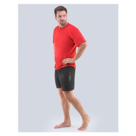 GINA Pánské pyžamo krátké 79102-MxEMxC červená - černá