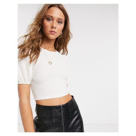 Topshop cropped t-shirt with puff sleeves in white-Cream