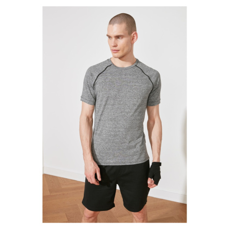 Trendyol Anthracite Male Slim Fit Bike Collar Short Sleeve T-Shirt