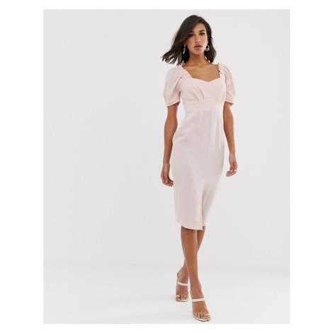 ASOS DESIGN midi pencil dress with sweetheart neckline-Pink