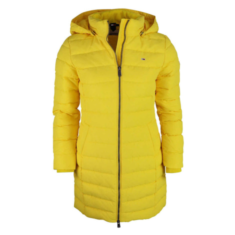 Tommy Jeans dámská žlutá zimní dlouhá bunda Tommy Hilfiger