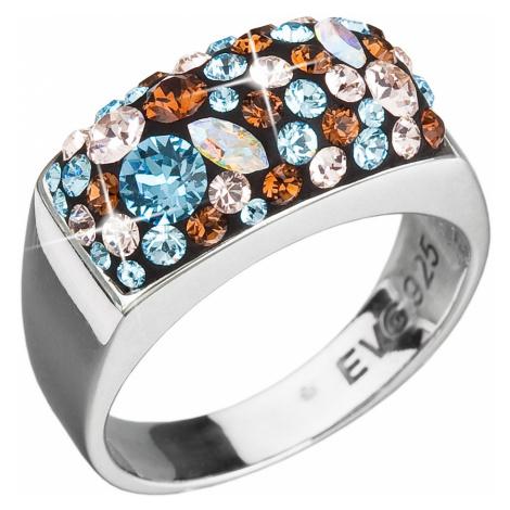 Evolution Group Stříbrný prsten s krystaly Swarovski modrý 35014.3