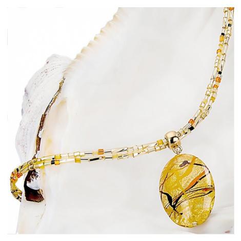 Lampglas Originální dámský náhrdelník Sunny Meadow s perlou Lampglas s 24karátovým zlatem NP16
