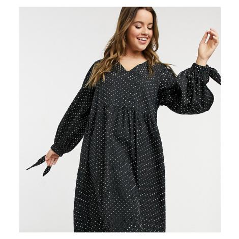 Lola May Curve smock midi dress in polka dot-Black