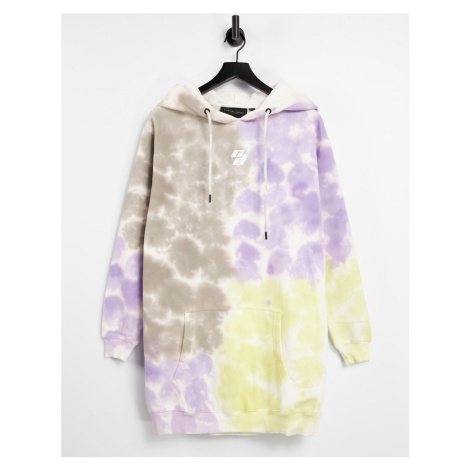 Criminal Damage oversized hoodie dress tie dye-Multi