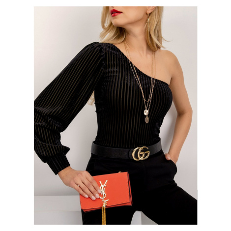 Black blouse with one shoulder Fashionhunters