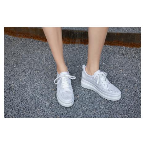 Originální kožené tenisky se síťkou boty vysoké na platformě