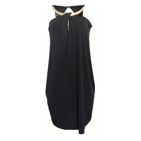 Černé šaty se zlatým dekoltem Sandro Ferrone