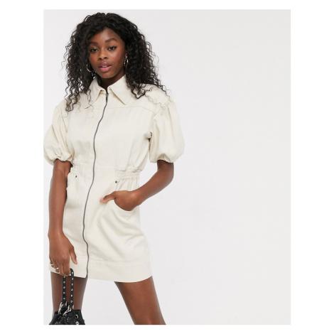 C/Meo Collective Peripheral puff sleeve denim utility mini dress in chalk-Cream
