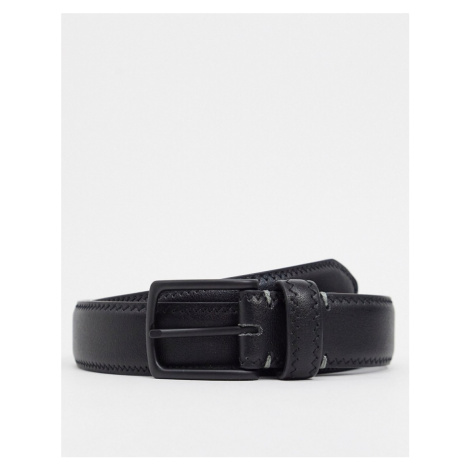 ASOS DESIGN slim belt in black faux leather with stitch detail