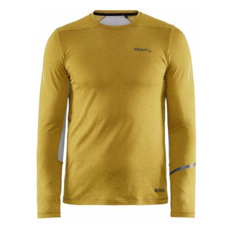 Pánské tričko CRAFT SubZ Wool LS tm. žlutá
