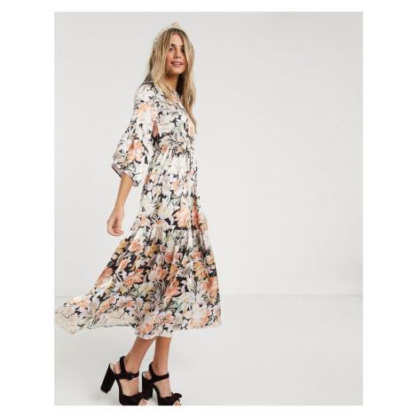 Hope & Ivy ditsy maxi dress with kimono ruffle sleeve-Multi