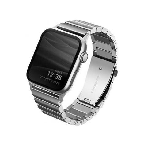 Uniq Strova Apple Watch článkový ocelový řemínek 44/42MM - Sterling stříbrný