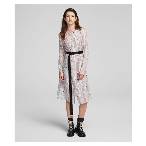 Šaty Karl Lagerfeld Orchid Print Silk Shirt Dress - Různobarevná