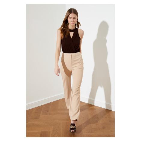 Trendyol Beige Straight Cut High Waist Pants