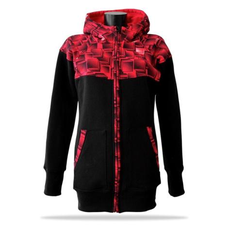 Dámská mikina na zip s kapucí Barrsa Cubes Premium BK/Red