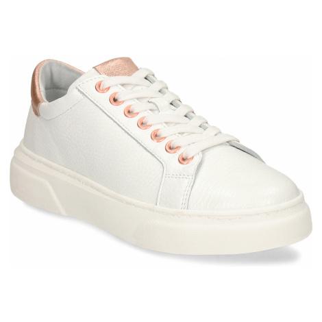Bílé celokožené dámské boty s růžovo-zlatými prvky Baťa