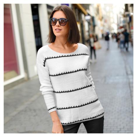 Blancheporte Pruhovaný pulovr se ženským výstřihem bílá/černá