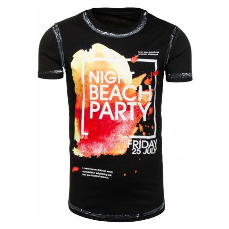 Černé pánské tričko s potiskem Bolf s024 J.STYLE