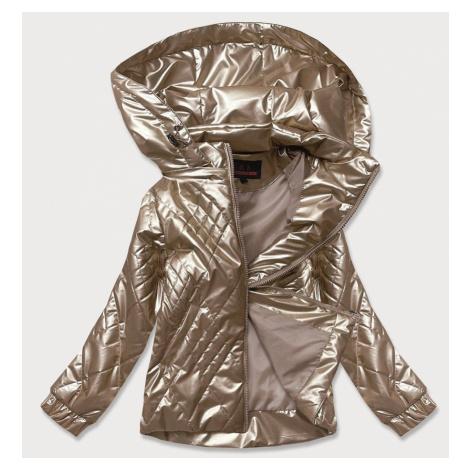 Lesklá dámská bunda v kapučínové barvě (2021-02)