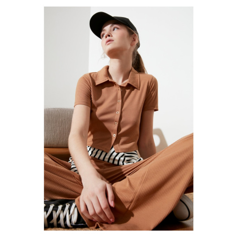 Trendyol Camel Polo Collar Wick Knitted Blouse