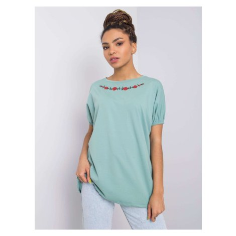 Pistachio blouse with embroidery Fashionhunters