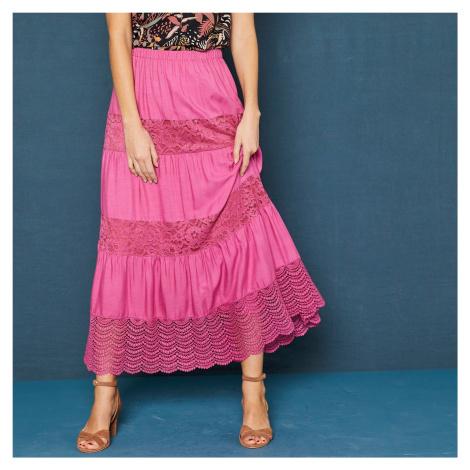 Blancheporte Dlouhá sukně s macramé růžové dřevo