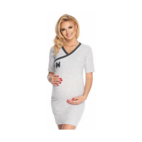 Be MaaMaa Těhotenská, kojící noční košile s mašličkou, kr. rukáv - šedá, vel.