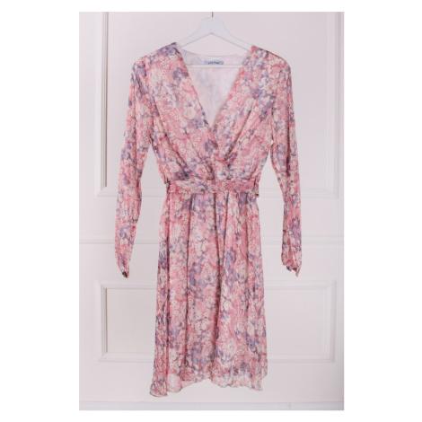 Světle růžové květované zavinovací šaty Daisy Vittoria Ventini