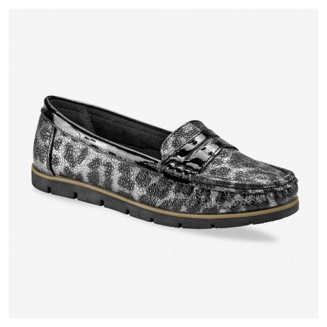 Blancheporte Třpytivé mokasíny, leopardí šedo/ černé šedá/černá