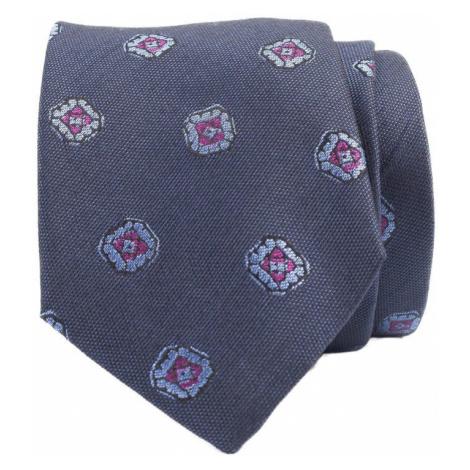 Modrá hedvábná kravata s fialovými květy John & Paul
